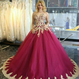 prom dress pink fluffy NZ - Sweetheart Ball Gown Quinceanera Dress Glamorous Golden Lace Applique Sleeveless Lace-Up Party Dress Fluffy Tulle 2018 Prom Dresses