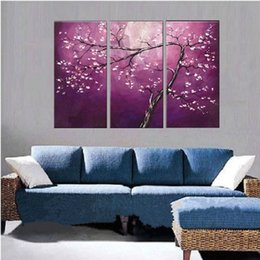 $enCountryForm.capitalKeyWord Australia - Purple 3 Piece Wall Picture Hand painted Abstract Chinese Plum Flower Oil Painting Handmade Home Canvas Floral Paintings Art