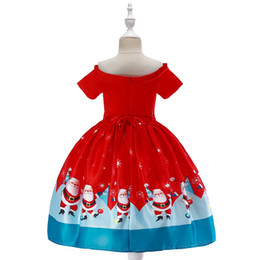 lace off shoulder flower girl UK - New red Christmas dress Santa Claus Snowflake print princess dress Lace patchwork dress high quality off shoulder flower girls' dresses