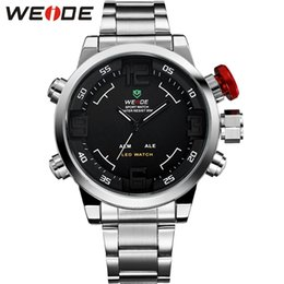 $enCountryForm.capitalKeyWord Australia - WEIDE Luxury Silver Stainless Steel Watch Men Quartz Digital LED Dual Alarm Waterproof Fashion Casual Clock Relogio Masculino