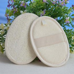 natural scrubber loofah wholesale Canada - 12*9cm natural loofah bath scrubber pad sponge remove the dead skin for home or hotel wholesale