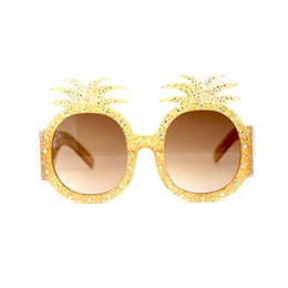 Discount stones sunglasses - Pine apple Sunglasses with Crystal Stones Wholesale Brand Designer Sunglasses Woman in High Quality Yellow Shades with c