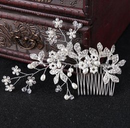 $enCountryForm.capitalKeyWord NZ - Pearl comb, silver water drill, leaf inserting comb, bridal accessories.