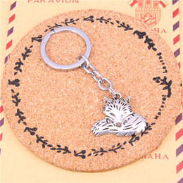 fairy tail keys wholesale UK - Keychain wolf tail fox Pendants DIY Men Jewelry Car Key Chain Ring Holder Souvenir For Gift