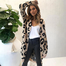 Leopard Sweaters Canada - Leopard Cardigan Women Coat Loose Streetwear Loose Knitting Cardigan Sweater Womens Knitted Female Long Sleeve Sweater Women