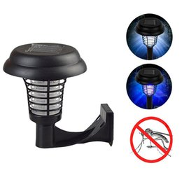 Wholesale 2 In Solar Mosquito Killer UV Lamp Outdoor Wall LED Mosquito Bug Zapper Repellent Light For Garden Yard Lawn Path