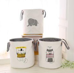 $enCountryForm.capitalKeyWord NZ - New Ins Storage Baskets Bins Kids Room Toys Storage Bags Bucket Clothing Organizer Laundry Bag Organizer Grey elephant cute cat Print