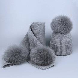 df901f7fcd7 Children kids Real Fox Fur Winter Hat Raccoon Pom Pom Hat Scarf For baby  Thick Hats scarves set Girls Caps Knitted Beanies Scarves Cap suit