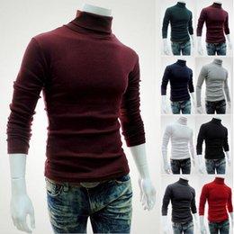 Venta al por mayor de Nuevo abrigo de suéter de los hombres moda suéter camisa de manga larga de color sólido suéter de cuello alto suéter de los hombres autocultivo envío gratis
