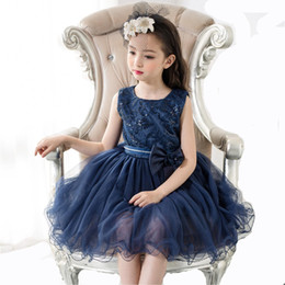 Tutu Sizes For Kids Australia - 2018 Fashion Summer Blue Flower Girl Dress For Kids Girls Party Dress Girls Tutu Dress Children Clothes Plus Size Support customized