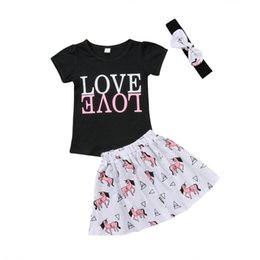 59daf8a6e876 2018 Unicorn Kids Girls Baby Short Sleeves Black Love Child Tops + Tutu  Skirt Party Clothing Outfit Cute Summer Set