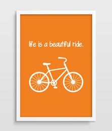 bicycle life NZ - Life Is A Beautiful Ride print picture Poster Digital Art Mountain Bike Bicycle Home Decor Bike Lover Bike Shop Wall Art Orange