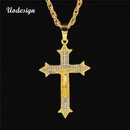 cross colours 2019 - Uodesign Gold Colour Vintage Jesus Cross Hip Hop Iced Out Rhinestone Cross Pendant Necklace Religious Prayer Necklace Je