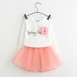 Cute Summer Cloths Canada - 2pcs Cloth suit baby Long sleeve flower t shirt tutu skirts girl summer Spring Autumn clothing set