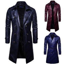 Venta al por mayor de Trench Coat Homme 2018 Nueva moda para hombre de cuero largo de la PU Trench Coat Chaqueta larga de otoño para los hombres Slim Fit Winter Coat Mens J181167