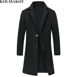 mens wool long coat green UK - 2018 New Mens Woolen Coats Solid Color Double-faced 90% Wool Winter Long Turn-down Collar Business Casual M-3XL Windbreakers