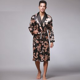 4d3bd9666b Luxurious Mens Bathrobe Nightgown 2017 Brand Robes Faux Silk Men s Sleepwear  Summer Long Sleeved Home Clothing Robe