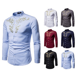type shirt collars NZ - 18 New Men's Royal Court Style Embroidery Hengliling Long Sleeved Shirt Self cultivation type lapel lapel arde camisa masculina