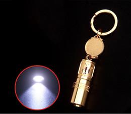 $enCountryForm.capitalKeyWord NZ - LED Lamp High Quality Key Ring Gold Keychain Mini Flashlight Portable Emergency Light For Camping Hiking Aluminum Alloy