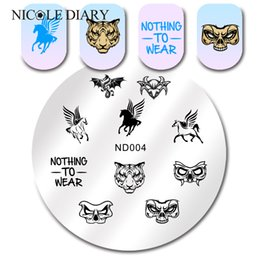$enCountryForm.capitalKeyWord NZ - NICOLE DIARY Flying Horse Stamping Template Skull Tiger Round Nail Art Stamp Iamge Plate ND-004