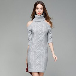 08833a7afb Autumn Winter Long Sweater Turtleneck Cold Shoulder Knitted Women Casual  Cotton Streetwear Pullover Female Sexy Womens Sweaters 2017