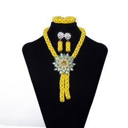 Yellow Flower Jewelry NZ - 2018 Women Party Costume Jewelry African Jewelry Set Yellow Crystal Flower Necklace Nigerian Wedding Bridal Gift African Bead Jewelry Set