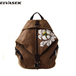chinese hand paintings Australia - ELVASEK Backpack Chinese Style Backpack Women Casual Landscape National Hand Painted Versatile Vintage Concise Girl Bags A3527 k