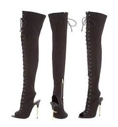 94bd0444632b Women New Design Open Toe Black Suede Leather Over Knee Stiletto Heel  Gladiator Boots Cut-out Lace-up Slim Long High Heel Boots