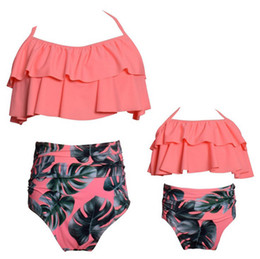 $enCountryForm.capitalKeyWord Canada - Mother Daughter Swimming Suit Mom Girl Floral Print Top + Pants 2pcs Sets Women Kids Dot Swimwear Family Match Swimsuit Bathing Beachwear