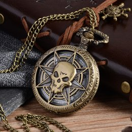 Pocket & Fob Watches Antique Bronze Steampunk Quartz Pocket Watch Pirate Skull Head Horror With Chain Men Women Pendant Necklace For Gift Pb616