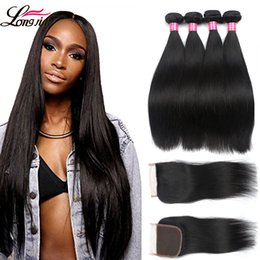 brazilian virgin 18 inches 2019 - 8A Peruvain Virgin Hair with Closure Unprocessed Brazilian Straight Human Hair 3or4 bundles With Lace Closure Natural co