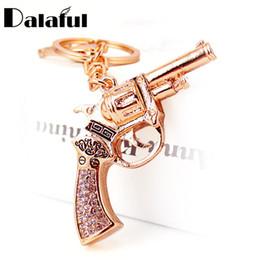 Discount unique keychains for men - beijia Unique Crystal Revolver Magnum Gun Key Holder Chains Rings For Car Bag Pendant For Women Keyrings KeyChains K273
