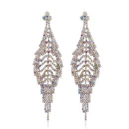 $enCountryForm.capitalKeyWord UK - Free Shipping Hot Sale E-commerce Supply Jewelry Fashion Style Female Drop Earrings Claw Chain Full Crtystal Leaf Earrings