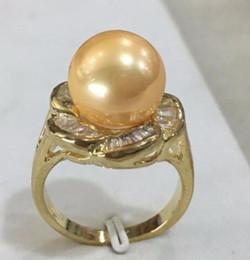 $enCountryForm.capitalKeyWord Australia - New lady's gp inlay crystal flower shape 12mm yellow shell pearl fashion ring