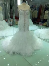 d93e1eade2 2018 Mermaid Crystal Luxury Wedding Dresses Lace Ruched Sparkle Rhinstone Bridal  Gowns Dubai Vestidos De Novia Custom Made