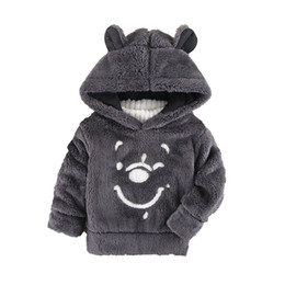 China New Children Baby Clothing Boys Girls Cute Bear Furry Tops Coat Autumn Winter Kids Thick Hooded Plush Long Sleeve Sweaters cheap furry clothing suppliers
