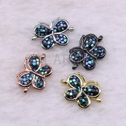 Micro Pave Connectors Australia - 10 pieces butterfly shape shell pendants connector beads micro pave tiny crystal stone jewelry pendants finding 3536