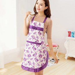 hot home dress 2019 - Hot Sale Women Lady Dress Restaurant Home Kitchen Cooking Coon Apron Bib Floral Paern 7JPO discount hot home dress