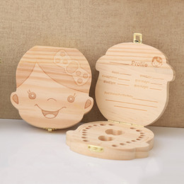 $enCountryForm.capitalKeyWord UK - Wooden Baby Kids Tooth Storage Box English Spanish French Russian Italian Teeth Umbilical Lanugo Organizer Gift Keepsakes Save