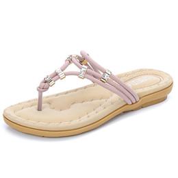 30e68f00fea Chinese Women Rhinestone Slippers Flat Sandals Flip Flop Beach Crystal Slippers  Ladies Comfortable Slipper Purple Slides
