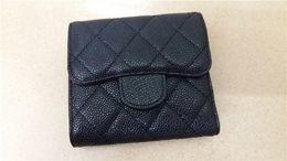 Venta al por mayor de CALIENTE clásico de cuero de caviar embrague carteras moda mujer vestido de estilo monedero negro titular de la tarjeta de diamante celosía carpeta corta envío gratis