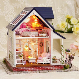 $enCountryForm.capitalKeyWord Australia - Bicycle Angle Assemble DIY Double Deck Doll With Furniture 3D Wooden Miniaturas Doll house Toys for Children Birthday Gifts