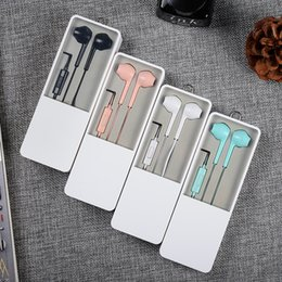 BlackBerry mute online shopping - High Quality In Ear Mini earphones mm audio cable earsets with mute control candy colors own design