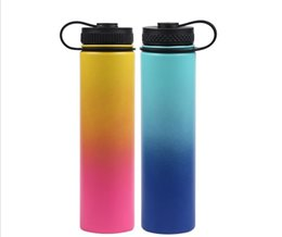 Powder Drinks UK - Gradient color Sunset Yellow 25oz wide mouth water bottle Vacuum Insulated, Double Wall, 18 8 Stainless Steel Powder Coated water flask