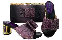 Discount new fall fashion handbags - New fashion purple kitten heel 5.5CM lady shoes with rhinestone bowtie african shoes match handbag set for dressing BL00