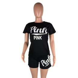 Discount shorts suit set for women - 2018 Hot Summer PINK Letter shorts suit 2pcs set short sleeve T-shirt Shorts pants pink Outfits Tracksuit Sportswear sui