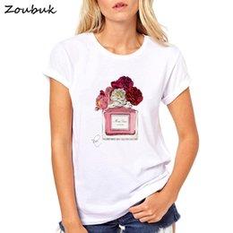 2018 harajuku t shirt mulheres Flor Perfume t-shirt mulher de algodão mangas curtas Casual feminino t plus size tops tees em Promoção