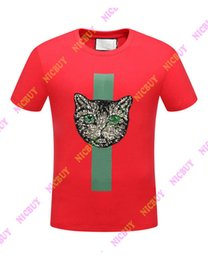 Sequin Animal Tee Shirts NZ - 2018 spring summer Designer clothing luxury Brand mens T-shirt letter red green striped Sequins cat tshirt t shirt Runway Tee Casual Top