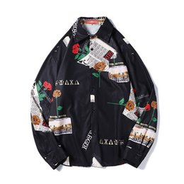 Shirt Korean Designs Australia - Men Printing Shirts Men Fashion Design Long Sleeve Mens Floral Oversized Shirt Korean Hip Hop Punk Rave Vestido Casual C7017