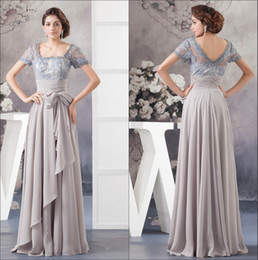 Short Sleeves Chiffon Mother Dresses 2018 Elegant Lace Top Beaded Ruffles Ruched Floor Length Formal Party Prom Dresses WD4-1035 on Sale